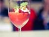 Dessert: Zitronencreme mit Erdbeersauce und Walnusskrokant